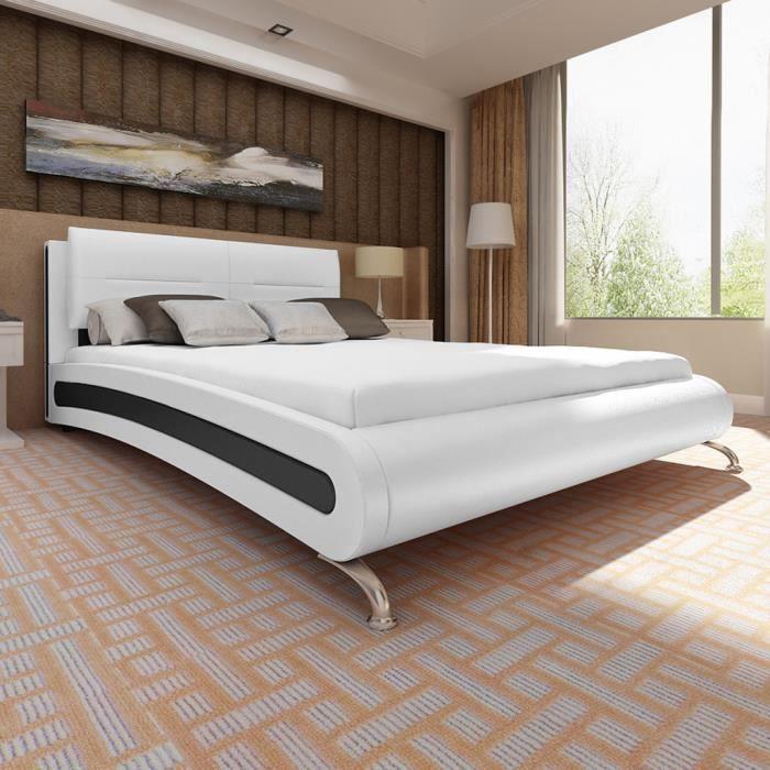 vidaxl lit avec matelas blanc et noir similicuir 180 x 200