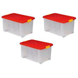 BAC DE RANGEMENT OUTILS Lot de 3 boîtes de rangement plastique transparent