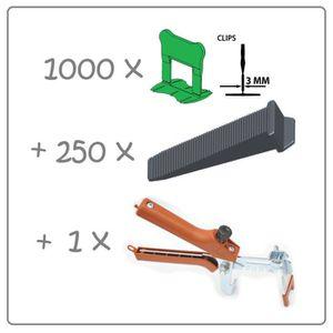 CARRELAGE - PAREMENT Kit 3mm 1000clips+250coins+pince metal Raimondi. P