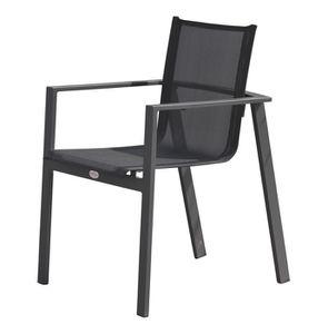 FAUTEUIL JARDIN  Fauteuil Miami textilène et aluminium coloris noir