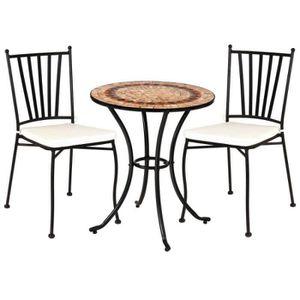 SALON DE JARDIN  Ensemble Table mosaïque & Chaises Fer noir - EMBUD