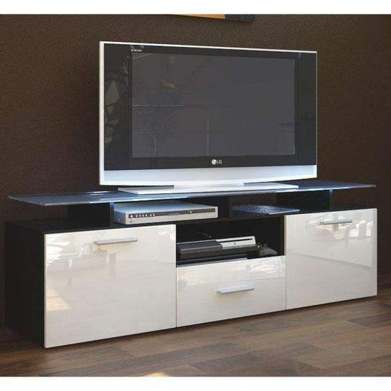 Meuble Tv Noir Blanc Avec 7 Espaces De Rangement Achat