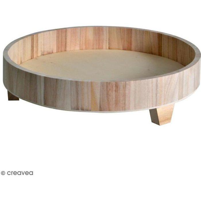 Plateau rond sur pieds en bois brut - 35 cm