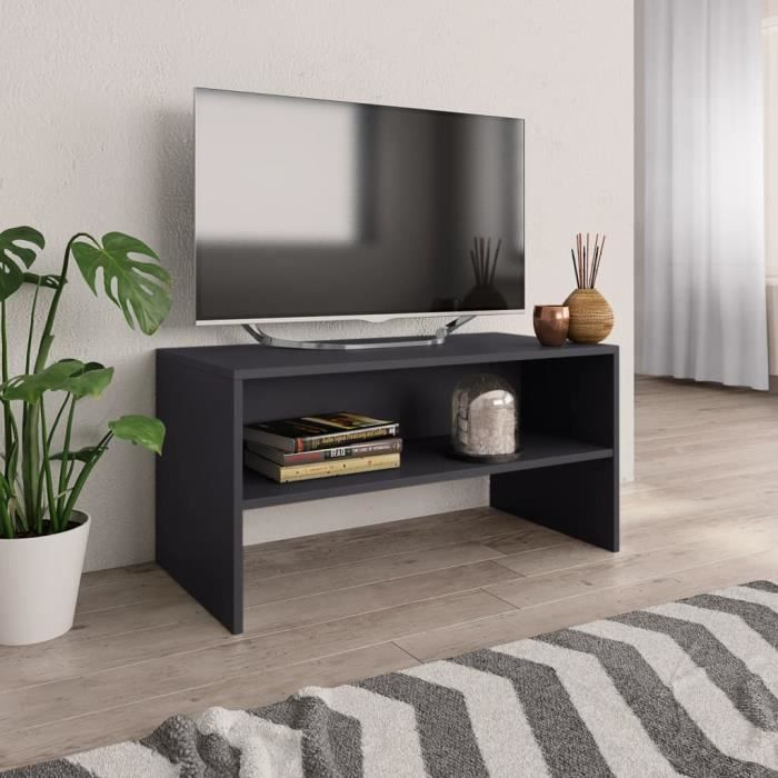 Meuble TV - Armoire tele Table television - style Meuble TV Gris 80 x 40 x 40 cm Aggloméré#R2177