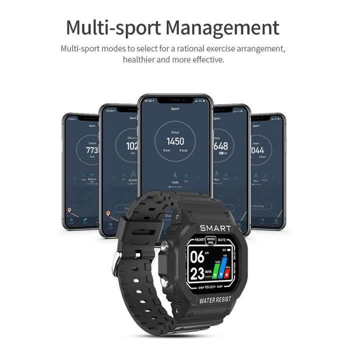 Montre de sport montre de fréquence cardiaque podomètre montre numérique étanche montre intelligente veille de sommeil veille