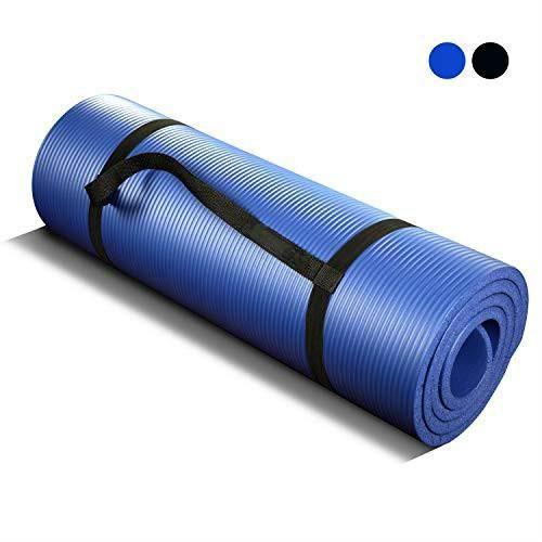Tapis De Yoga Antidérapant Pilates Mat Extra épais Avec Sangles De Transport-Bleu 180cm x 61cm x 1.5cm