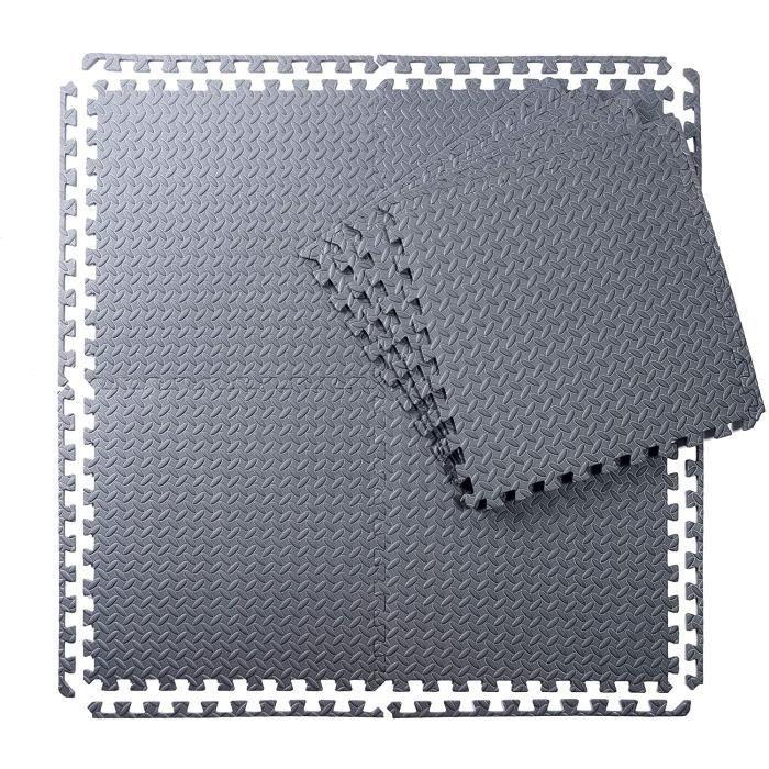 Wardmason Lot de 8 tapis de protection de fitness - Puzzle - Tapis de piscine - Tapis de sol d'ext&eacuterieur avec bordures - 105