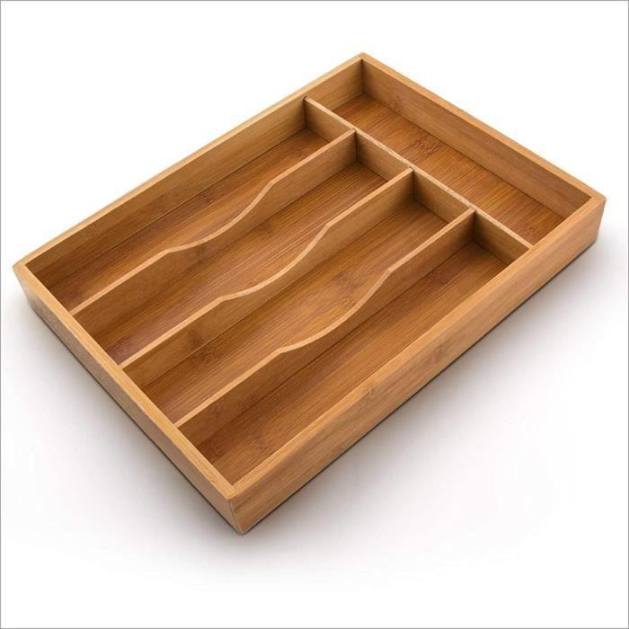 Relaxdays Organiseur de tiroir pour la Cuisine Range-Couverts en Bambou avec 5 Compartiments Rangement en bois boîte ustensiles de c