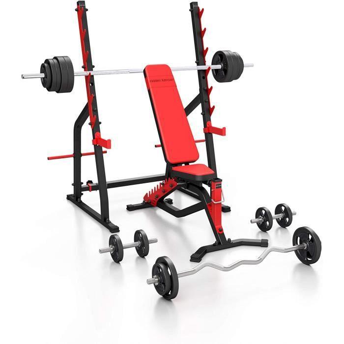 Set MS3 - Banc de musculation bilatéral MS-L101 + support d'haltères MS-S107 - Set 83 kg-113 kg au choix - Fabriqué en UE[495]