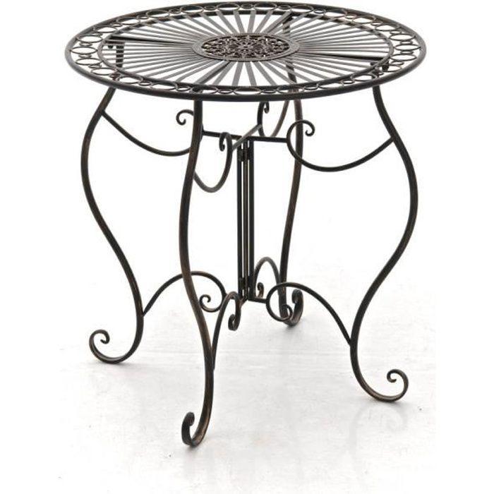 CLP Table de jardin ronde en fer forgé INDRA, faite à la main dans un style nostalgique, diamètre Ø 70 cm, 6 couleurs au choix72 ...