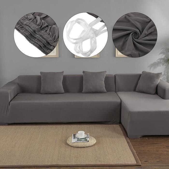 Housse de canapé de protection 3 + 2 places en L d'angle en polyester pour meubles de maison douce luxueuse - Gris