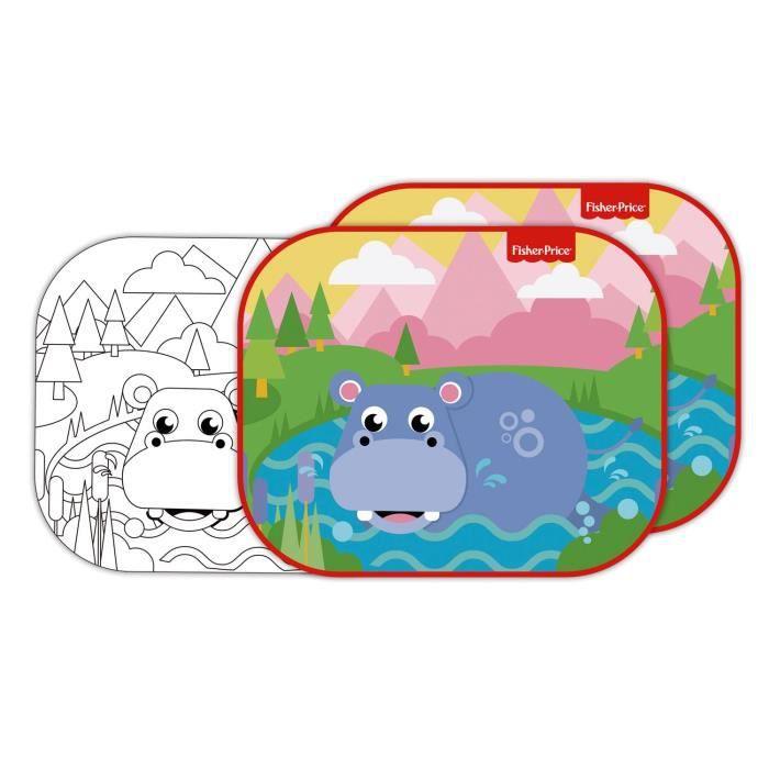 FISHER PRICE Lot de 2 pare-soleils - Hippopotame + feuilles à colorier