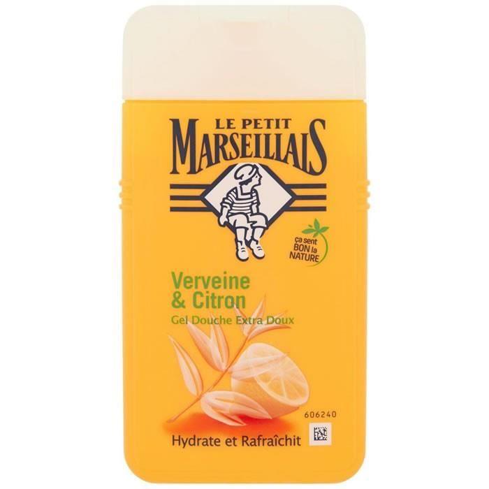 LOT DE 4 - LE PETIT MARSEILLAIS : Extra Doux - Gel douche verveine et citron 250ml