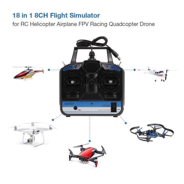 Goolsky 18 in 1 8CH USB Émulateur de simulateur de vol pour avion RC hélicoptère FPV Racing Drone Quadcopter