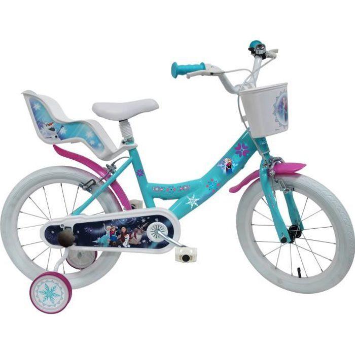 Vélo 16'' enfant REINE DES NEIGES équipé de 2 freins, porte poupée, panier, stabilisateurs amovibles et pneus gonflables + éclairage