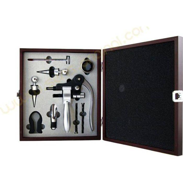 Coffret accessoires du vin luxe 9 pièces