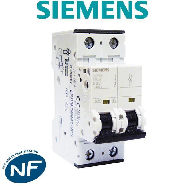 Disjoncteur électrique bipolaire 20 A courbe D pour climatisation, pompe à chaleur et pompe de relevage