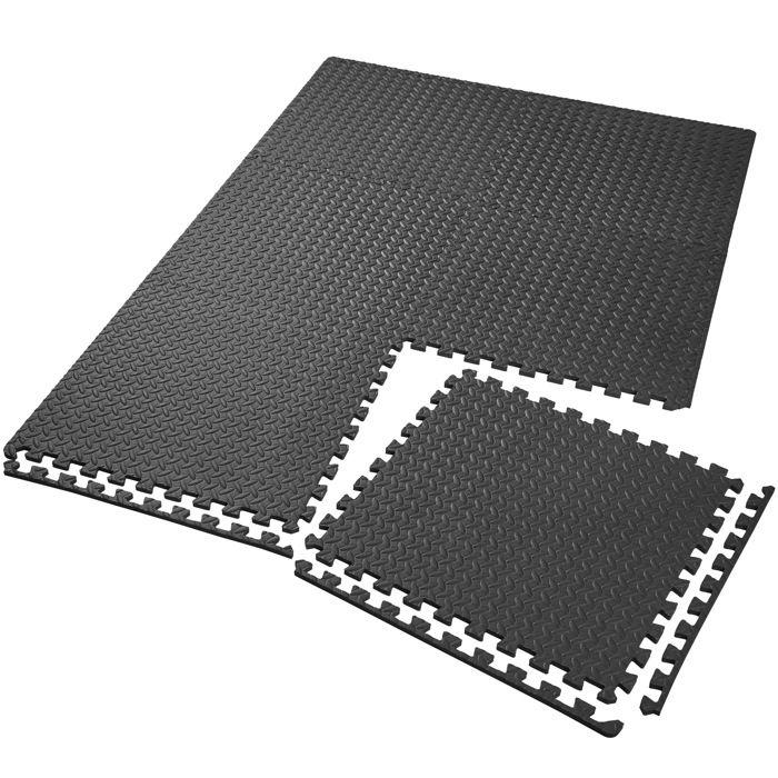 TECTAKE Tapis de Sol de Gym Sport avec 6 Dalles de Protection en Mousse 61 cm x 61 cm Noir