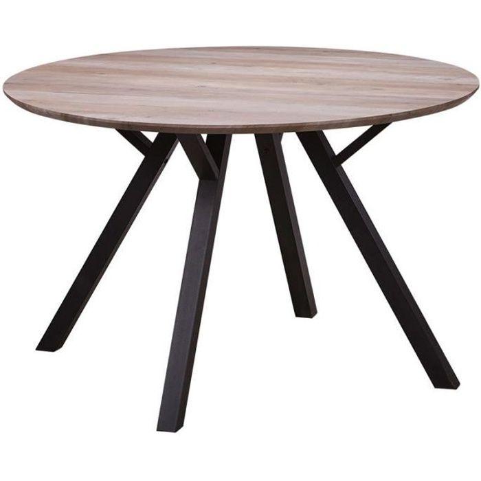 Table de repas Ronde Chêne et pieds Noirs - ALANA - L 120 x l 120 x H 76
