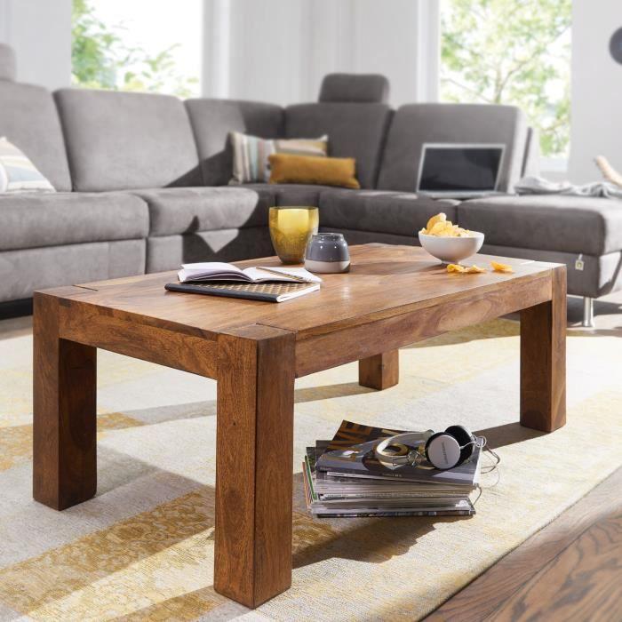 WOHNLING table basse en bois massif Sheesham 110cm de large salon table design sombre table de style campagnard brun