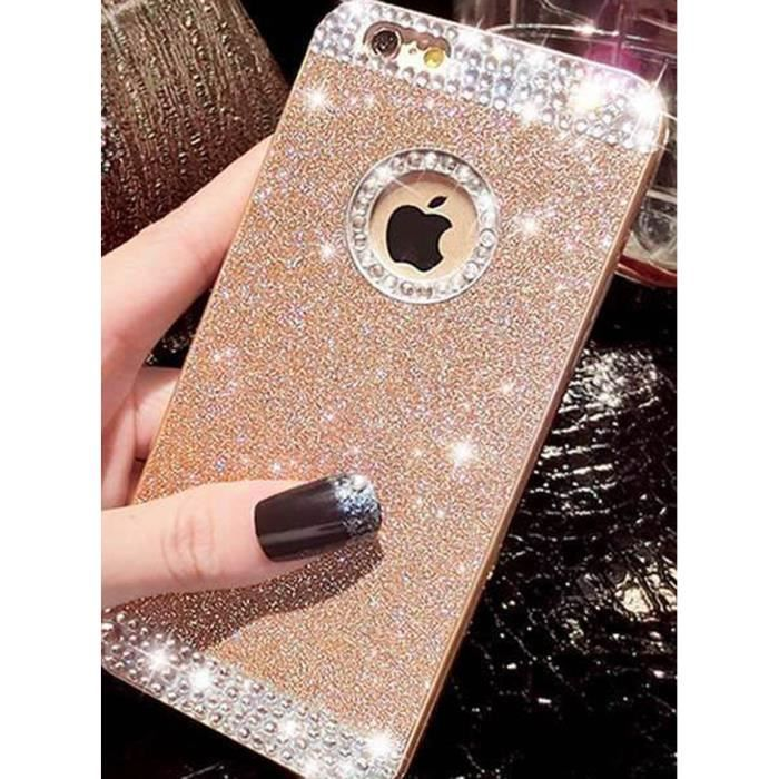 coque iphone 6 4 7 paillettes diamand or bling bling luxe
