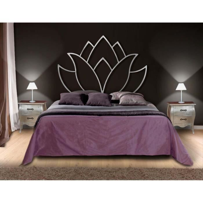 t te de lit en fer forg mod le fleur de lotus achat vente t te de lit cdiscount. Black Bedroom Furniture Sets. Home Design Ideas