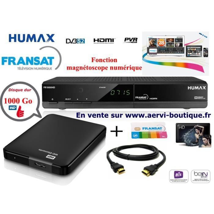 pack r cepteur fransat humax fr1000hd pvr avec disque dur externe 1 t ra r cepteur d codeur. Black Bedroom Furniture Sets. Home Design Ideas