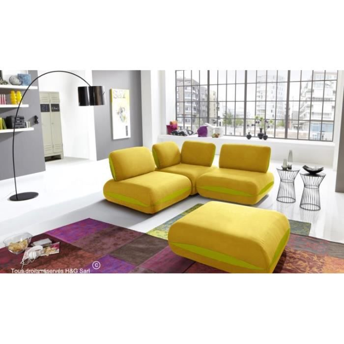 canape d angle tissu 3 places hit jaune avec liseres vert. Black Bedroom Furniture Sets. Home Design Ideas