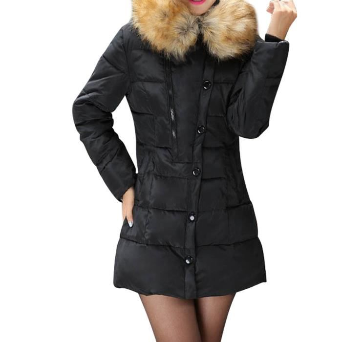 femme fille parka chaud de fourrure zipp sans capuche hee grand noir achat vente parka. Black Bedroom Furniture Sets. Home Design Ideas