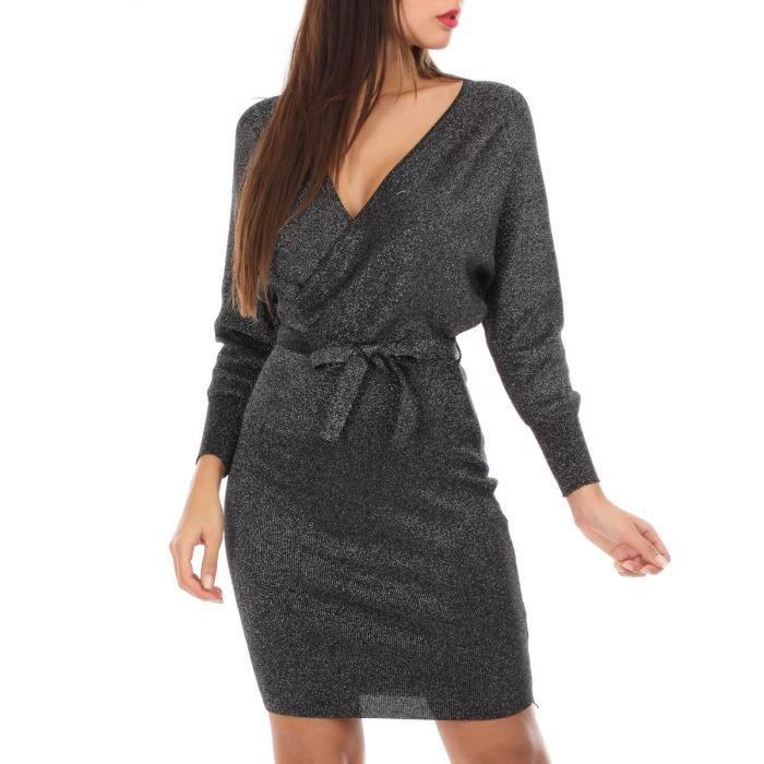 Robe Pull Noire A Paillettes Manches Chauve Souris Noir Achat Vente Robe Bientot Le Black Friday Cdiscount