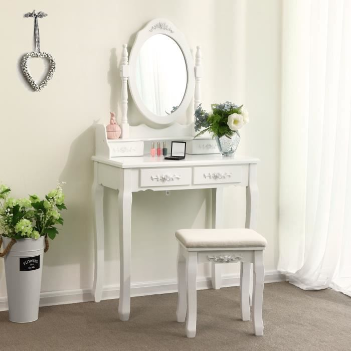 songmics blanc coiffeuse table de maquillage avec miroir et tabouret 4 tiroirs 145 x 75 x 40 cm. Black Bedroom Furniture Sets. Home Design Ideas