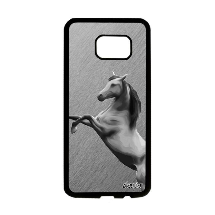 Coque Samsung S7 Edge silicone cheval gris animal