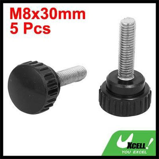 2 x Noir Rond Plastique moleté Thumb Vis à tête M3 x 14 mm.