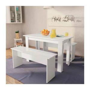 TABLE À MANGER COMPLÈTE Table de Salle à Manger - 1 Table et 2 Bancs - Agg