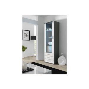 VITRINE - ARGENTIER Meuble vitrine design SANO - gris et blanc