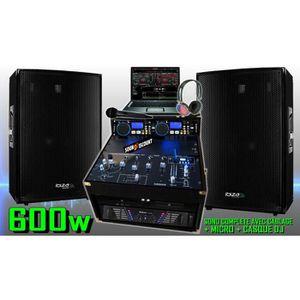 PACK SONO PA DJ SONO COMPLÈTE 600W + 2 ENCEINTES SONO AMPLI