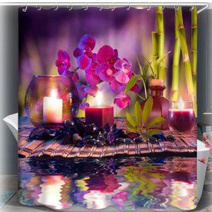 RIDEAU DE DOUCHE Rideau de douche ZEN Fleurs bougies bambous galets