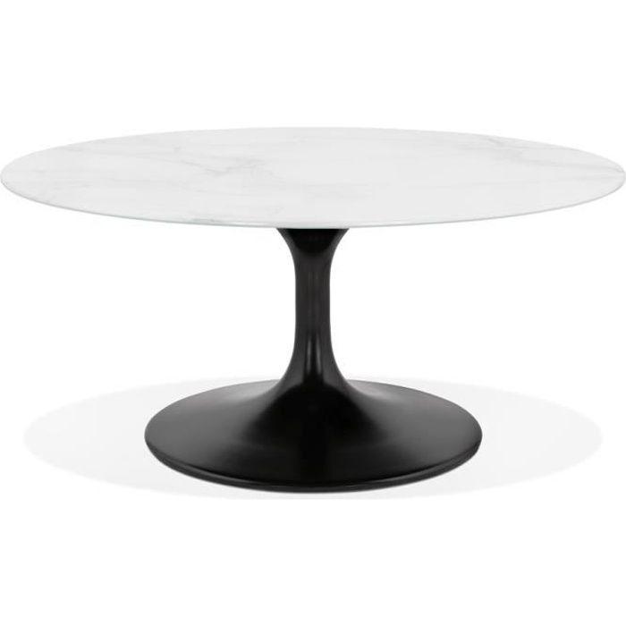 Table basse de salon ronde 'GOST MINI' en verre blanc effet marbre et pied central noir