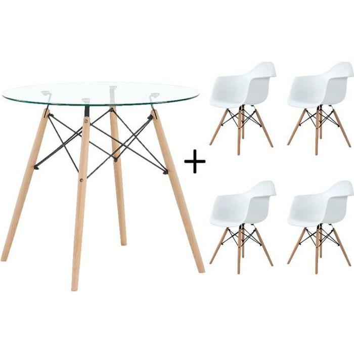 DORAFAIR Complet Verre Table et 4 chaise De Couleur Blanc Design Scandinave