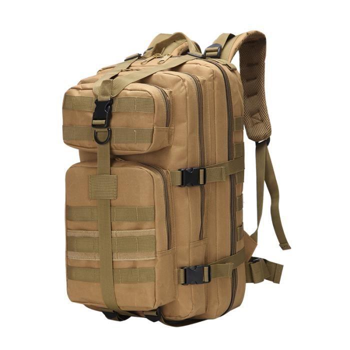 Sac à dos tactique militaire Bug Out Bag Assault Pack Sac à dos pour la randonnée Camping Kaki