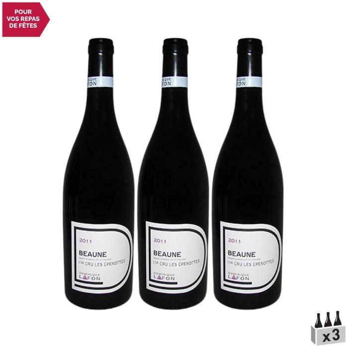 Beaune 1er Cru Les Epenottes Rouge 2011 - Lot de 3x75cl - Dominique Lafon - Vin AOC Rouge de Bourgogne - Cépage Pinot Noir