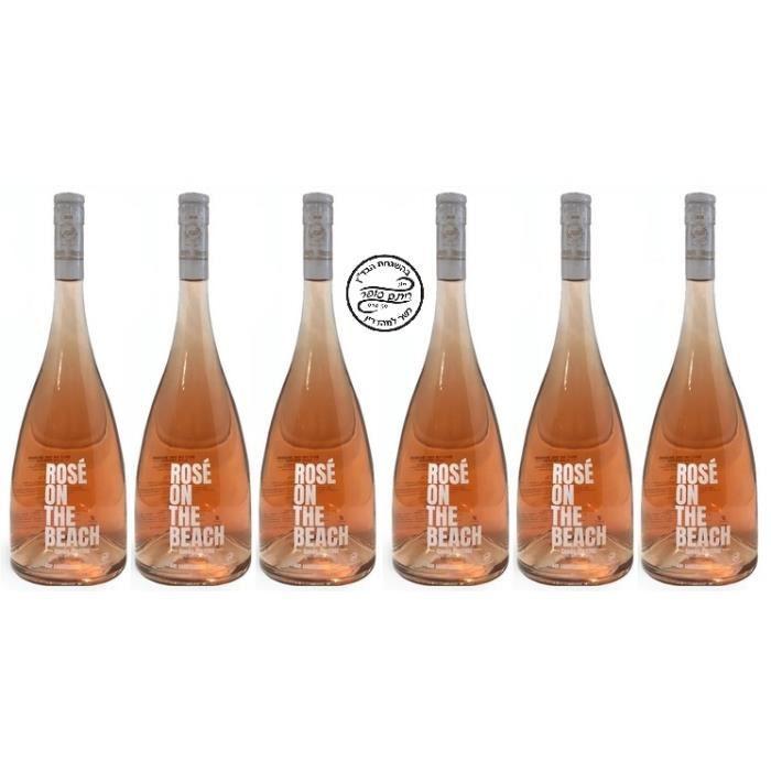 ROSE ON THE BEACH Vin rosé Casher - Rosé Kasher Le Pessah Cuvée Prestige - AOP Corbières 2019 - Kosher Wine - 6 Bouteilles de 75 cl