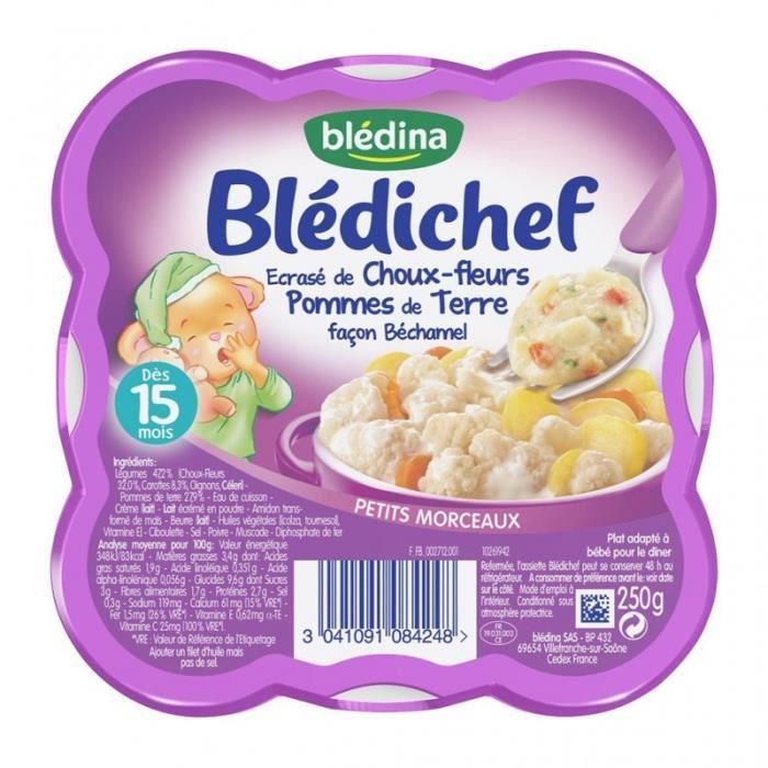 Blédina Blédichef Ecrasé de Choux-Fleurs Pommes de Terre Façon Béchamel (dès 15 mois) l'assiette de