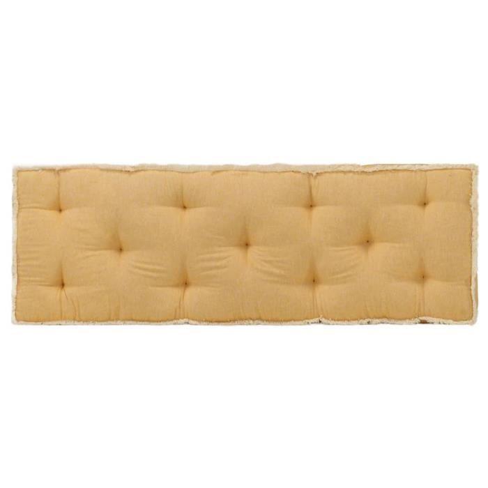Market6983Haute qualité Coussin de canapé palette - Coussin extérieur Coussin de sol Grand Confort Galettes de chaise Jaune 120x40x7