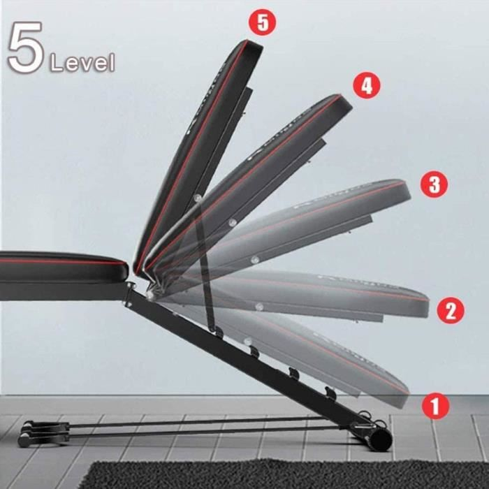Banc de Musculation Pliable Multifonctions Lit Sit-Ups avec Extension Jambe Leg Curl pour Fitness- Charge Max 200 Kg-441 Lbs- N[269]