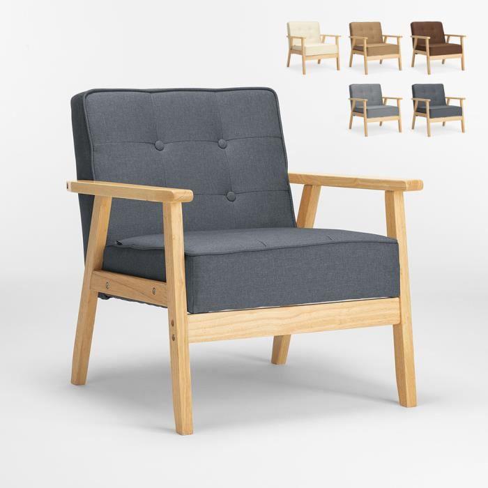 Fauteuil en bois au design scandinave vintage avec accoudoirs Hage, Couleur: Gris foncé