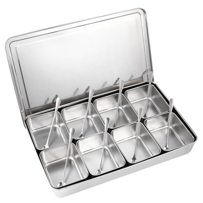 8 grilles boîte d'assaisonnement acier inoxydable contenants de stockage condiments pots d'épices ustensiles cuisine-GOL