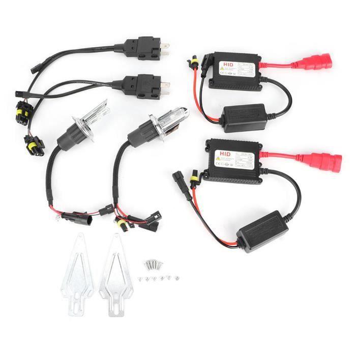Drfeify Kit phare Kit de Ballast de Phare H4 Double Lumière Étanche Universelle Lampe de Voiture au Xénon 6000K 12V 55W