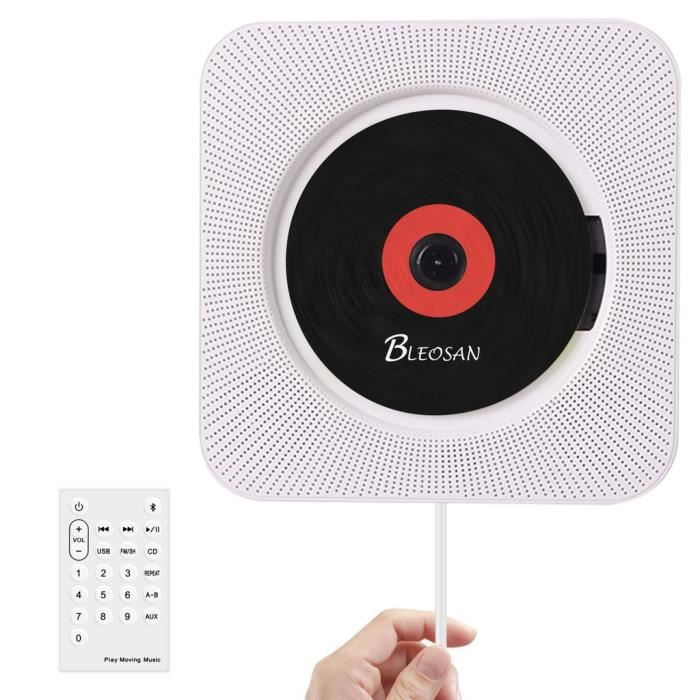 BLEOSAN CD Lecteur Mural Montable Bluetooth, Blanc, Hi-Fi Innovant, Lecteur de Musique avec Télécommande USB MP3 3.5MM Prise Casque