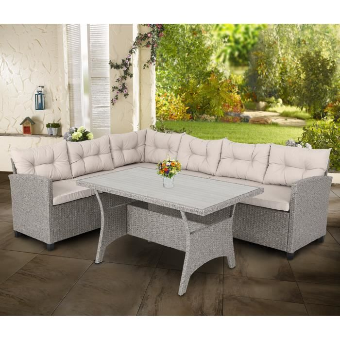 Salon de Jardin d'angle Lounge en Polyrotin - Canapé d'angle et Table Haute - 6 Places assises - Confort - Couleur Gris/Beige